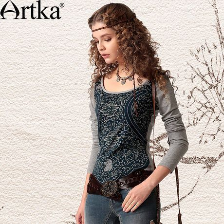 Artka Women's  Spring Vintage Tie-Dyeing Print  Skin-Friendly Cotton Round Neck Long Sleeve Tee T-Shirt TA19949C