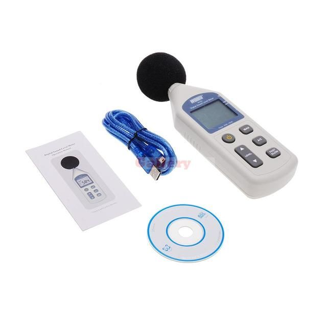 Lcd Digital Sound Level Meter Noise Measuring Instrument Decibel Monitoring Logger Tester 30-130db