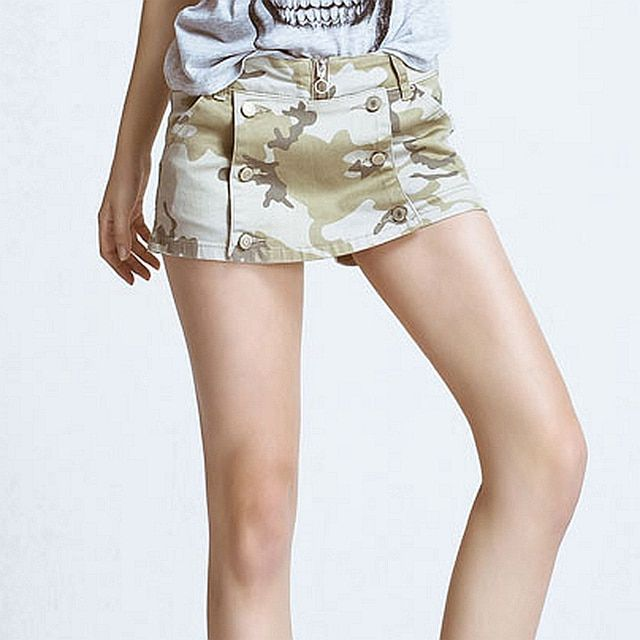 High Quality Sexy Hot Skirt Shorts Women Jeans Camouflage Printed Double-breasted Pockets Denim Skinny Shorts New Fashion 2017