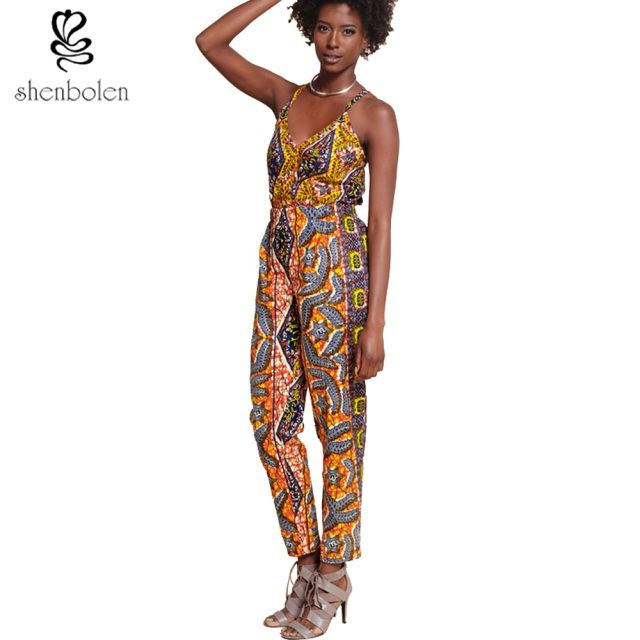 2017 summer fashion African clothing strapless sexy v-neck sleeveless Jumpsuit dashiki batik pure cotton plus size S-5XL