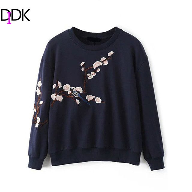 DIDK Autumn Pullovers For Women New Ladies Round Neck Long Sleeve Flower Embroidery Drop Shoulder Casual Sweatshirt