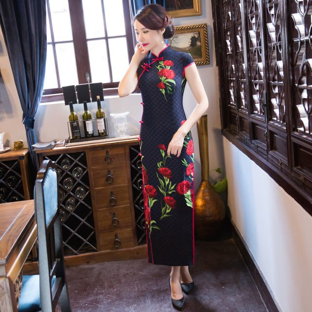 Chinese knot Black Vintage Evening dress Short Sleeve Long Cheongsam Dress Chinese traditional dress qipao evening dresses gown