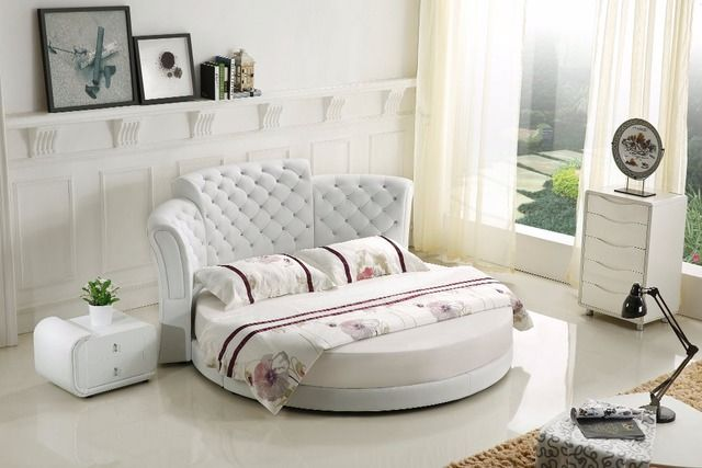 2019 New No Genuine Leather King Modern Bedroom Furniture Muebles Para Casa Hot Sale Bedroom Furniture Modern Round Soft Bed