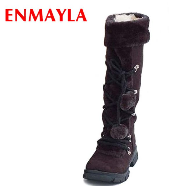 ENMAYLA Women Boots Fashion Half Over Knee High Snow Boots for Women Platforms Shoes Furry Warm Winter Boots New