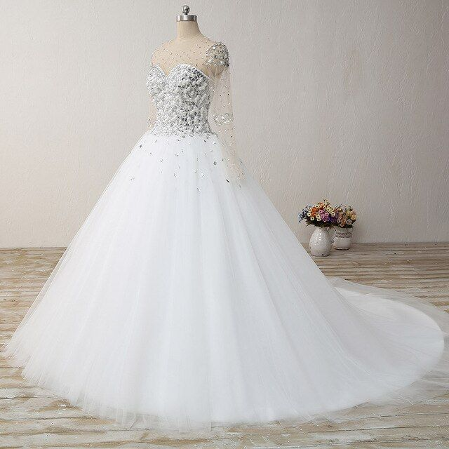2019 Romantic vestido de noiva Arabic Style said Mhamad Long Sleeve Crystal Princess  Ball Gown Wedding Dresses with Pearl