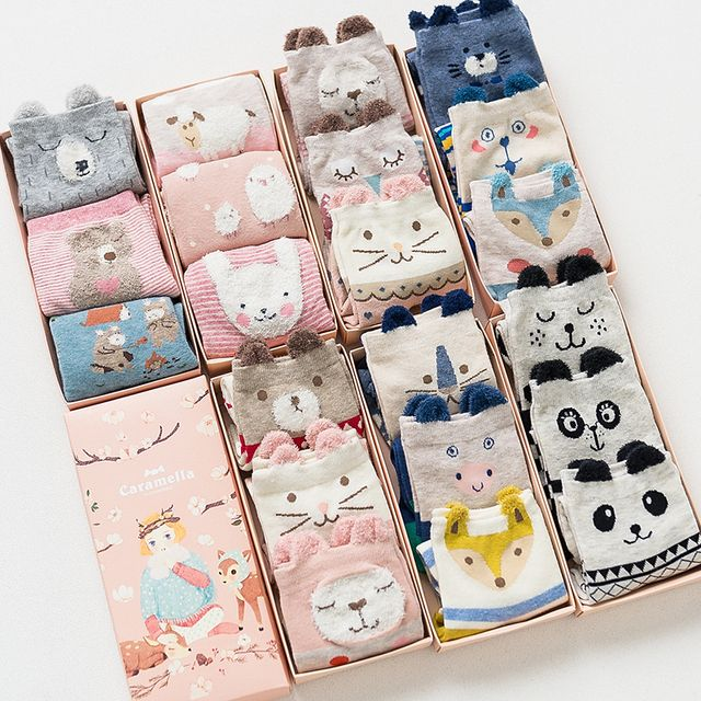 Gift box women autumn winter cute 3d ears cartoon animal cotton socks for woman fashion socks 3pairs/lot