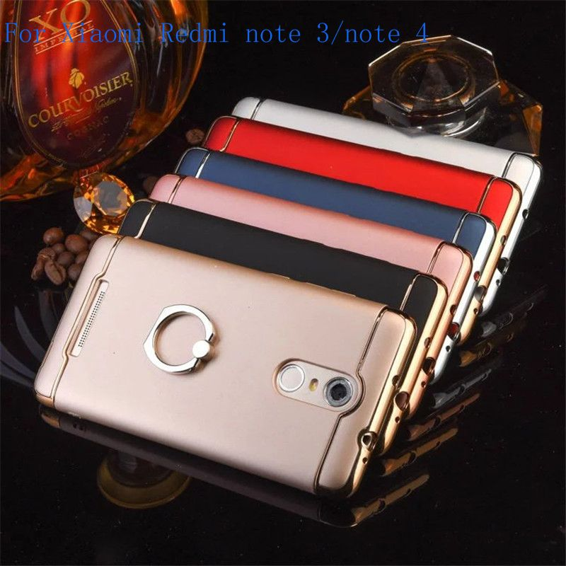 Luxury PC plating Case cover for Xiaomi redmi note 3 note 4 Case cover back fashion metal ring coque funda for Hong Mi note 3 4