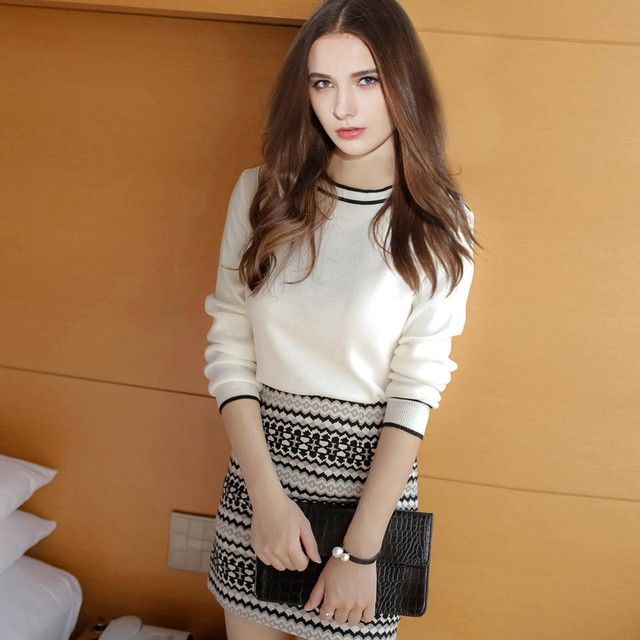 Hot Sale Women Clothing 2016 New Arrivals Europe Knitted Long Sleeve Sweater+Skirt O-Neck 2 Piece Set Stripe Women Skirt S20284
