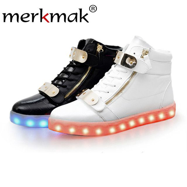 Merkmak 2017 Women Shoes Fashion Unisex Sequined Boots Luminous Lover Flash Ankle Boots USB Charging Light Up LED Shoes Adults