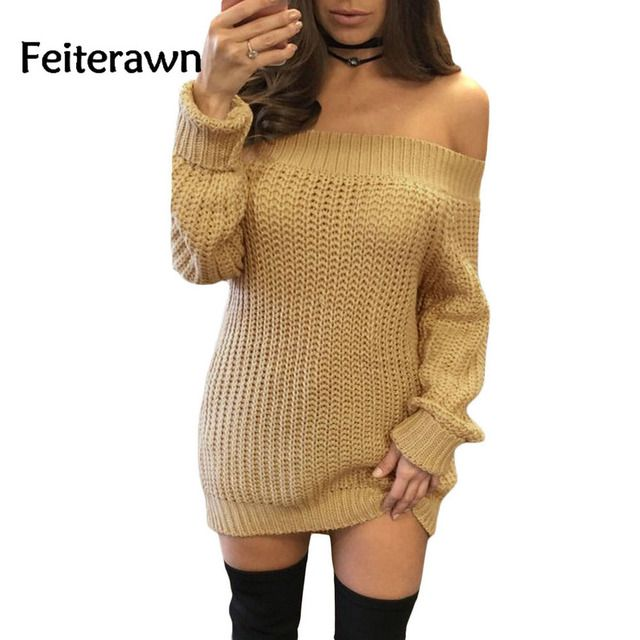 Feiterawn 2017 New Hot Sale Winter Sexy Khaki Pink Brown Gray Off Shoulder Shredded Back Mini Sweater Dress Vestidos DL27661