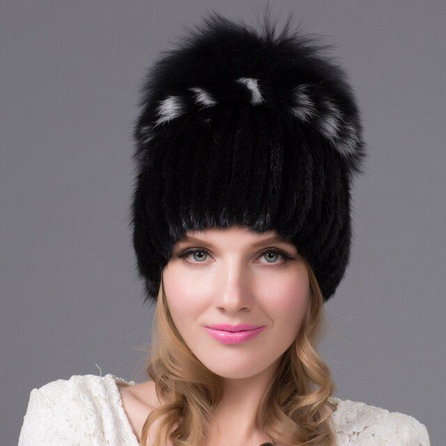 Foreign trade explosion models in Europe and America in winter knit hat fashion warm mink mink hat lady ear cap