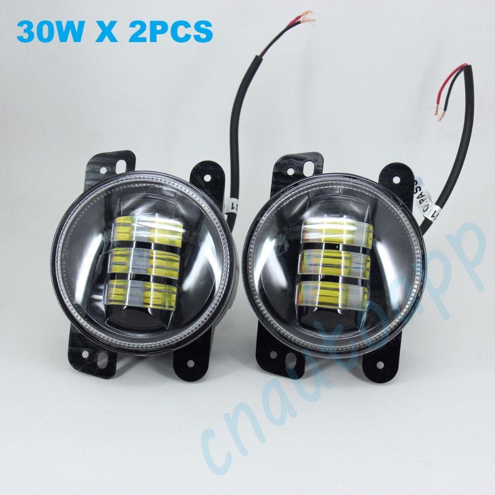 4'' Round LED Fog Light Lens Foglight LED Fog Lamp With Projector For Wrangler JK 2007--2015 / Grand Cherokee  One Pair