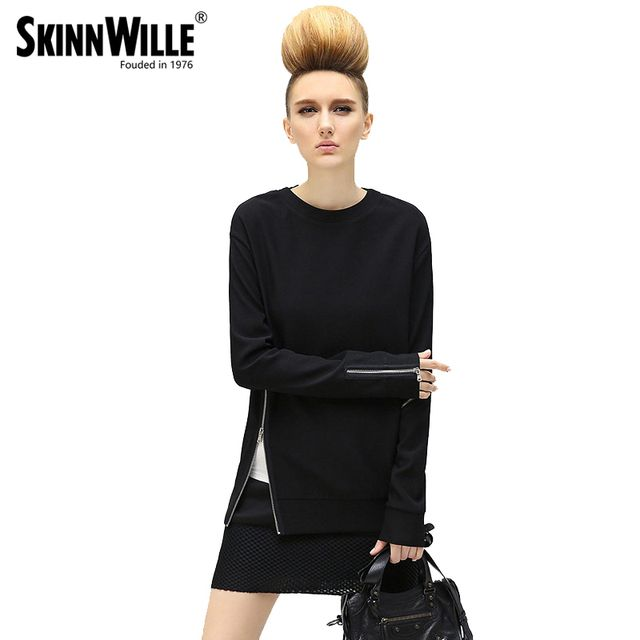 skinnwille Easing of new fund of 2017 autumn outfit set of female long fleece asymmetric zipper head design