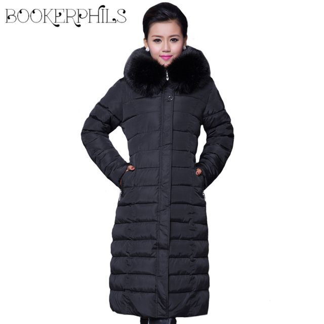 Winter Women Fashion Long Thick Warm Cotton Jacket Women Plus Size High Quality Fur Collar Slim Coat  Women Overcoat Parka