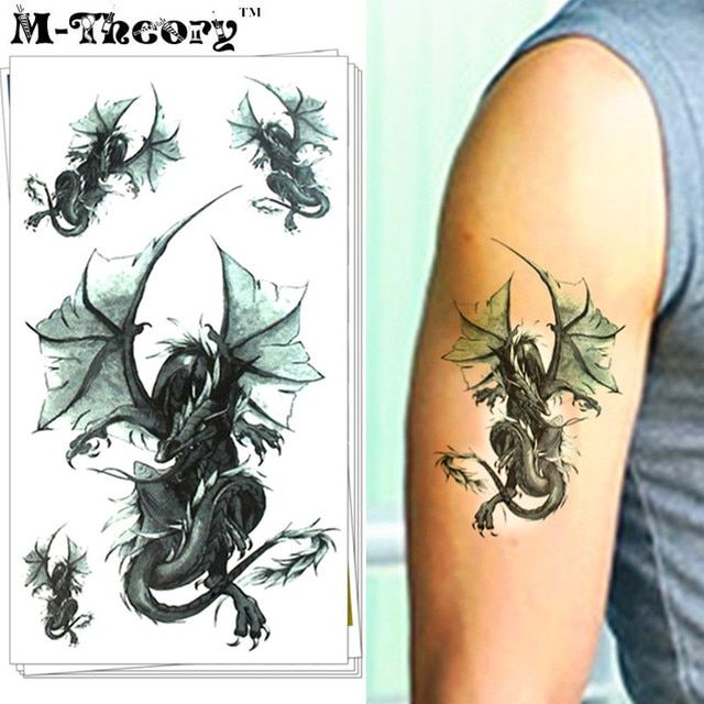 M-Theory 3D Dragon Body Makeup Temporary 3d Tattoos Sticker Flash Tatoos Henna Body Arts Bikini Swimsuit Makeup Tools