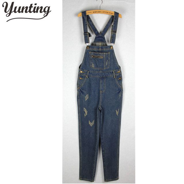 Girls Denim Overall Suspender Jean Women Trousers Pants Ripped Blue Jumpsuit