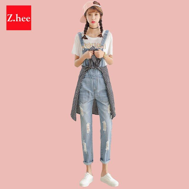 Casual Holes Straight Straps Denim Rompers Womens Slim Jeans Jumpsuit Female Boyfriend Denim Overalls For Jumpsuits And Rompers