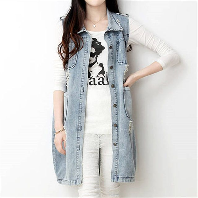 New 2016 Spring New Large Size Medium-Long Women Summer Vest Turn-down Collar Coat Denim Sleeveless Jacket WY390