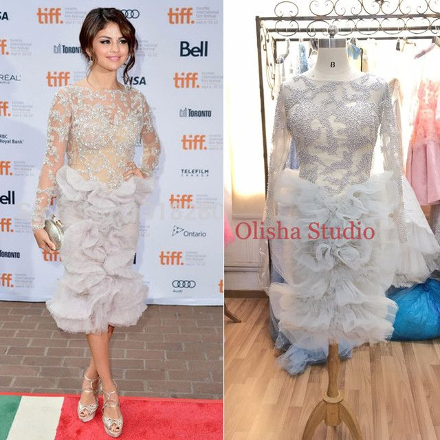 KN026 Real O Neck Light Grey Beading Long Sleeves Celebrity Dresses Tea Length Tulle Ruffles Evening Dress Evening Party Abiye