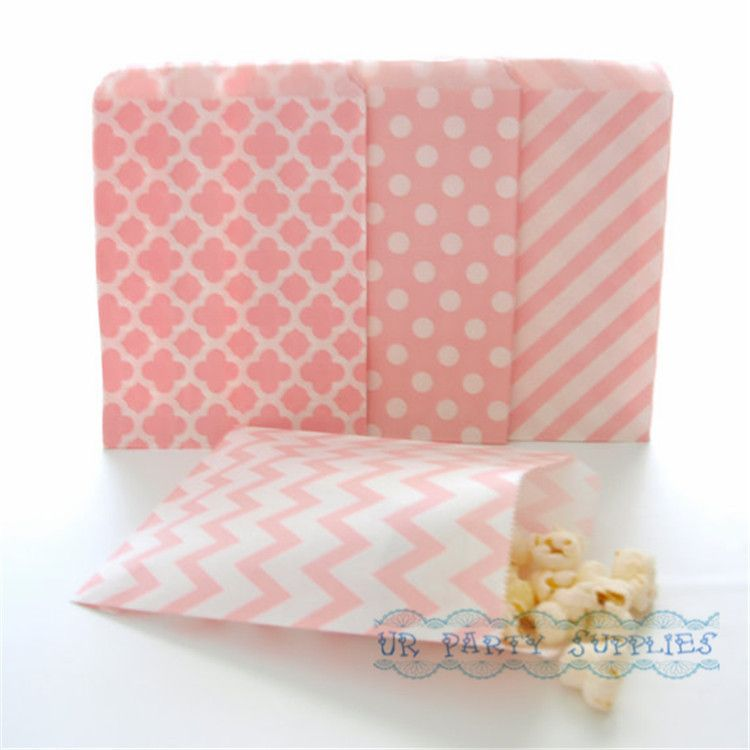 500pcs Baby Pink Paper Party Bags Stripe Chevron Flower Forms Polka Dot  Bulk Party Supplies Candy Buffet Wedding Favor Bags