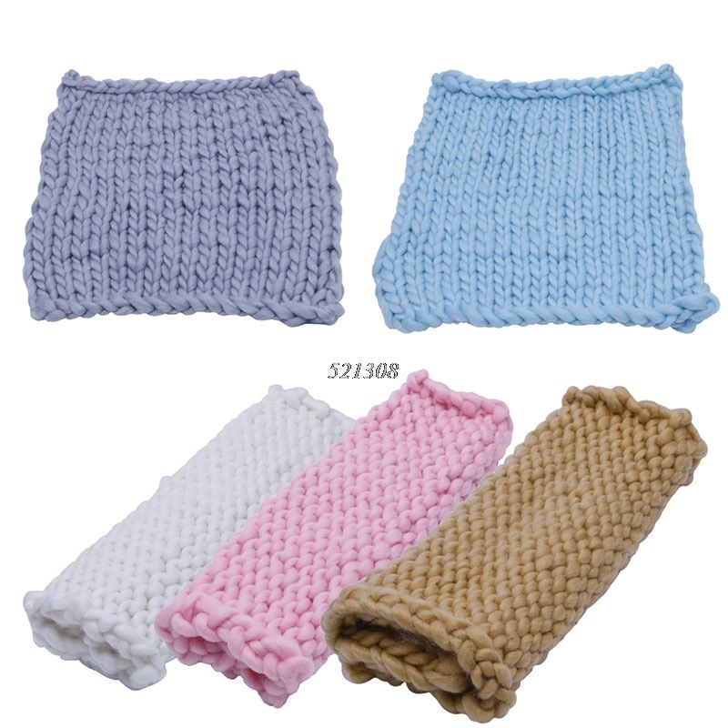 Soft Crochet Wool Basket Warm wrap Baby Newborn Photography Props Blanket Gift