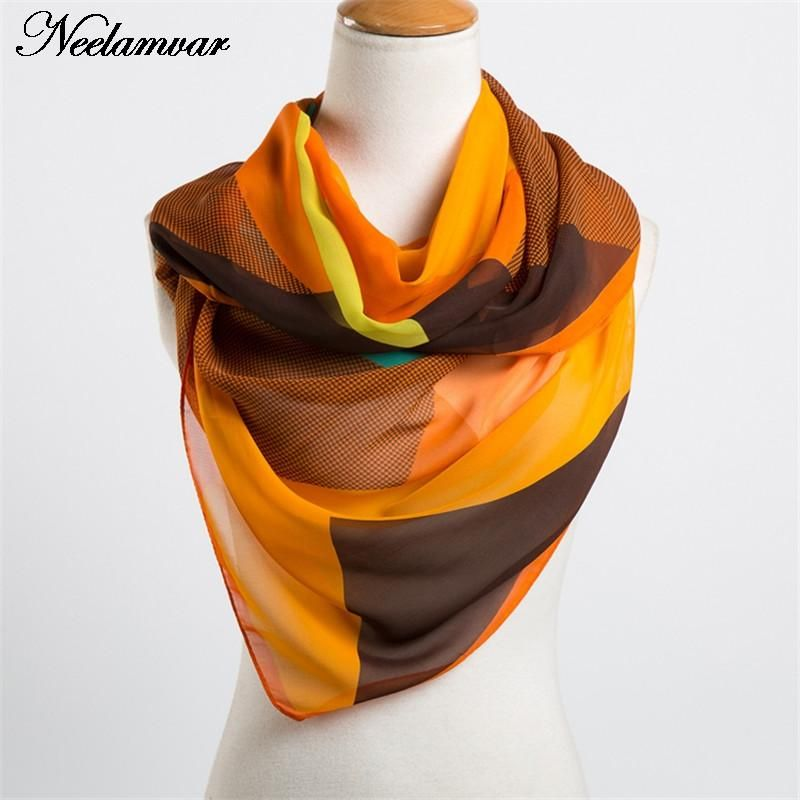 Neelamvar 2018 Autumn Winter scarf chiffon women  silk feeling scarf bandana geometric pattern new design long soft shawl hijab