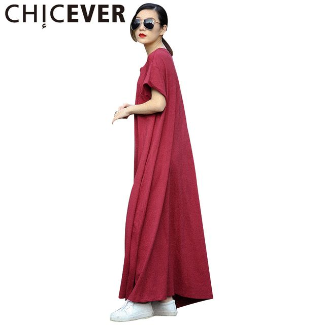 CHICEVER Short Sleeve Casual Summer Dress Women Maxi Long T Shirt Dresses Female T-shirt Black Clothes Korean Big Sizes 2017 New