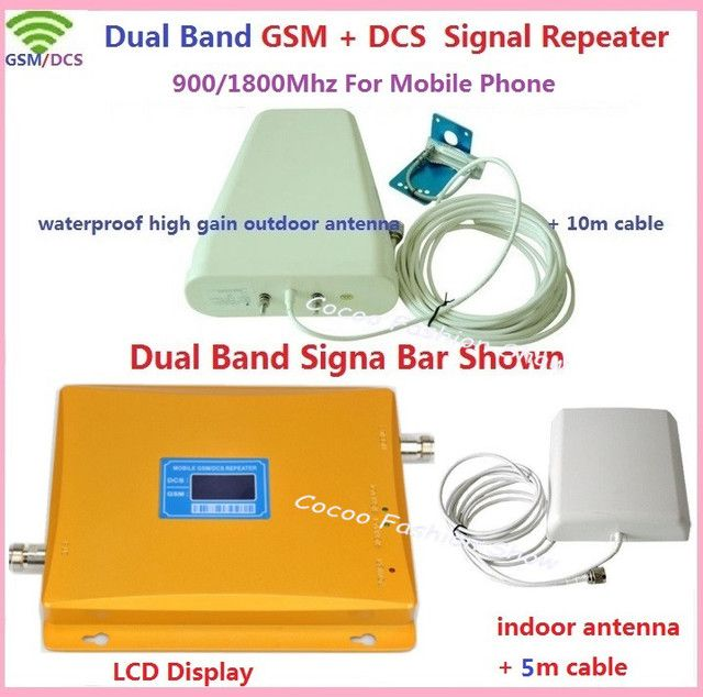 1 SET LCD Booster High Gain Dual Band Mobile Phone 2G 4G Signal Booster GSM 900 DCS 1800 mhz cellular Signal Repeater Amplifier