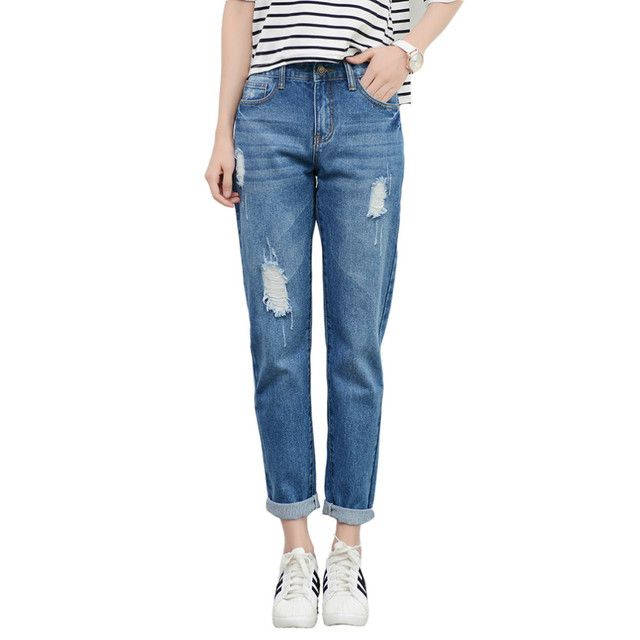 Tengo New Fashion Women Hight Waist Jeans Boyfriend Brand Female Harem Pants Women Casual Jeans Ripped Jeans for Women Plus Size