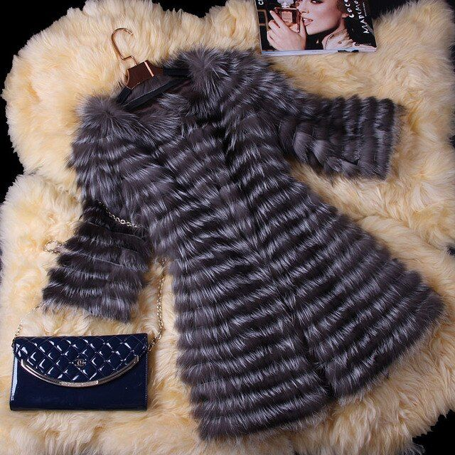 2016 Real Fox Fur Coat 3/4 Sleeve Autumn Winter Genuine Women Fur Trench Outerwear Jacket Lady Long Overcoat  VK3006