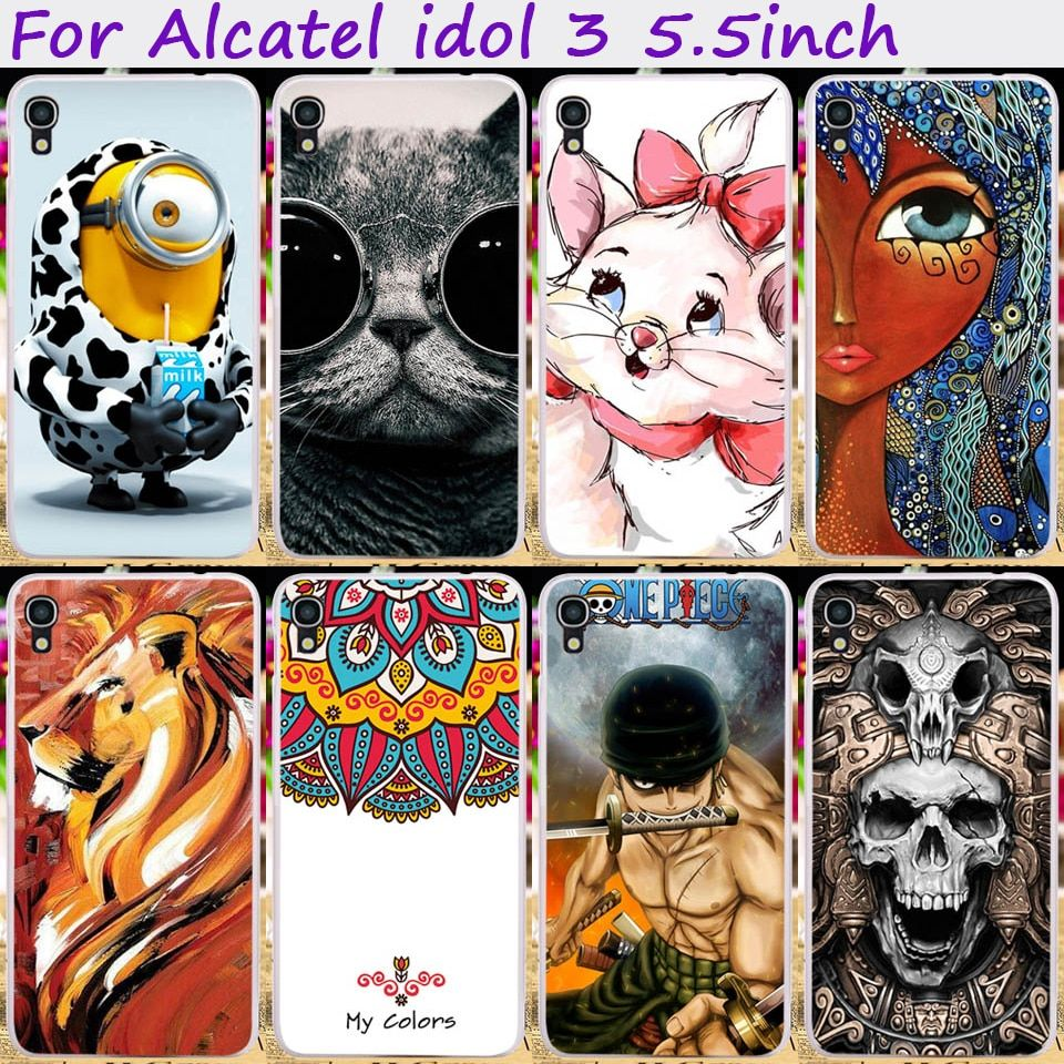Ojeleye Capa Bumper Soft TPU Cute Animal Flower Phone Case For Alcatel OneTouch Idol 3 6045  5.5 inch Cover Bags Skin Shell