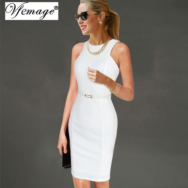 Vfemage Womens Elegant Sleeveless Belted Wear To Work Office Business Party Casual Summer Bodycon Slim Fitted Pencil Dress 6406