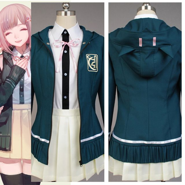Super DanganRonpa Chiaki Nanami Uniform Jacket White Skirt Anime Halloween Cosplay Costumes For Women Custom Made