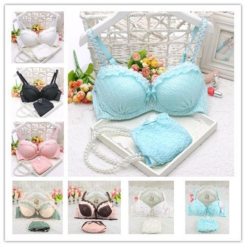 2016 new push up women bra set cute 32 34 36 A B C cup young girl sexy lace cotton underwear suits
