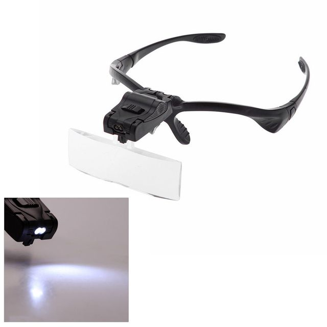 Glasses Magnifier 5 Adjustable Acrylic Lens ABS + PP Frame LED Illuminated Headband Glasses Bracket Magnifie Optical Instruments