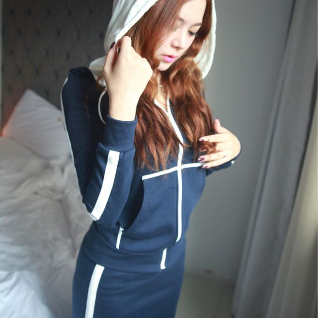 2017 Autumn Winter Women Casual Fashion Hoodies Set Long Sleeve Hooded Jacket + Skirt 2 Pieces Suit S-XXL