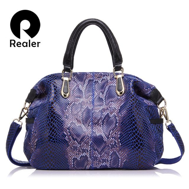 REALER genuine leather women bag female large tote bag serpentine prints handbags top-handle ladies shoulder messenger bags