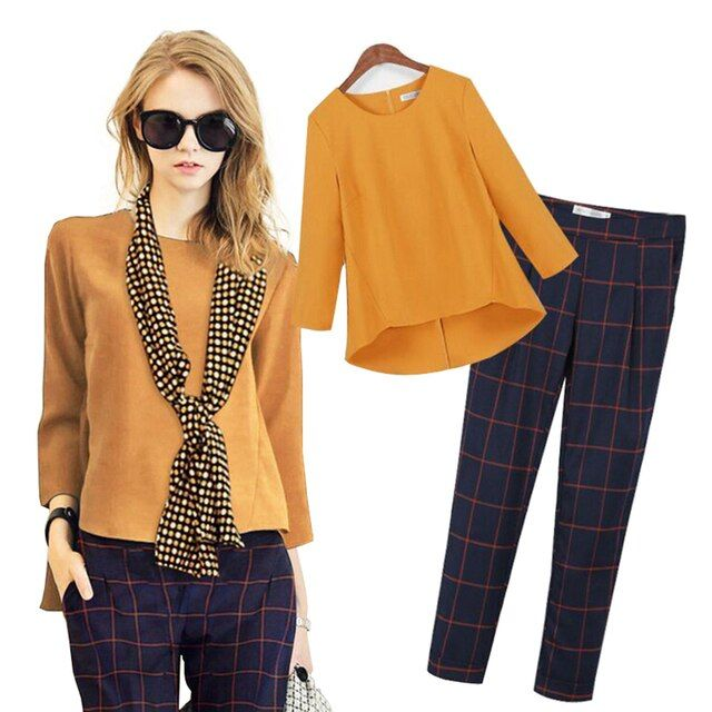 Women New Autumn 3 Piece Set Fashion Tops+Pants+Scarf Suit Plaid Feminino Full Sleeve O Neck Tops Female Sets Plus Size
