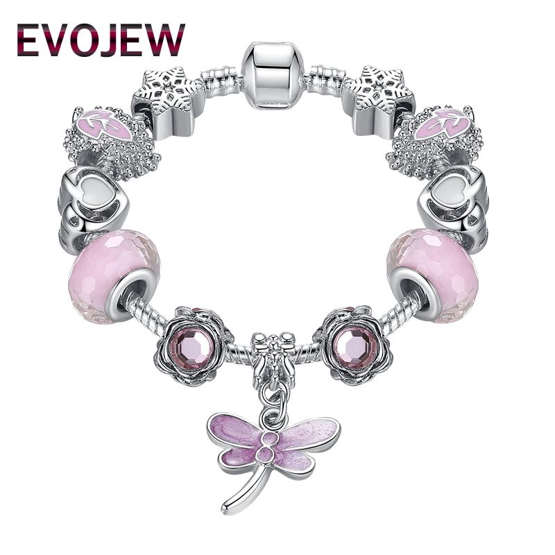 Fashion Bracelets & Bangles Lovely Pink Murano Glass Beads Dragonfly Charm 925 Silver Bracelet For Momther&Child Jewelry Gift