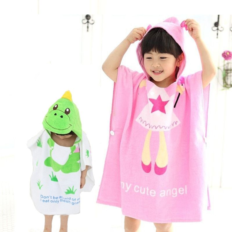 Zootime 100% Cotton Baby Beach Gown Child Bathrobe Beach Towels Baby Cloak Cape Baby Bath Swimming Towel Child Bathrobes