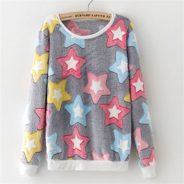2016 Women Flannel Casual Print Sweatshirt Brand  Female O-neck Long Sleeve Stars Letters Rabbit Print Pullover Tops Hoodies