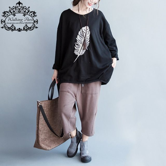 Plus Size Autumn Cotton Feather Print Loose Big Size Casual Long Sleeve Female Elegant Fashion Black Tops&Tees
