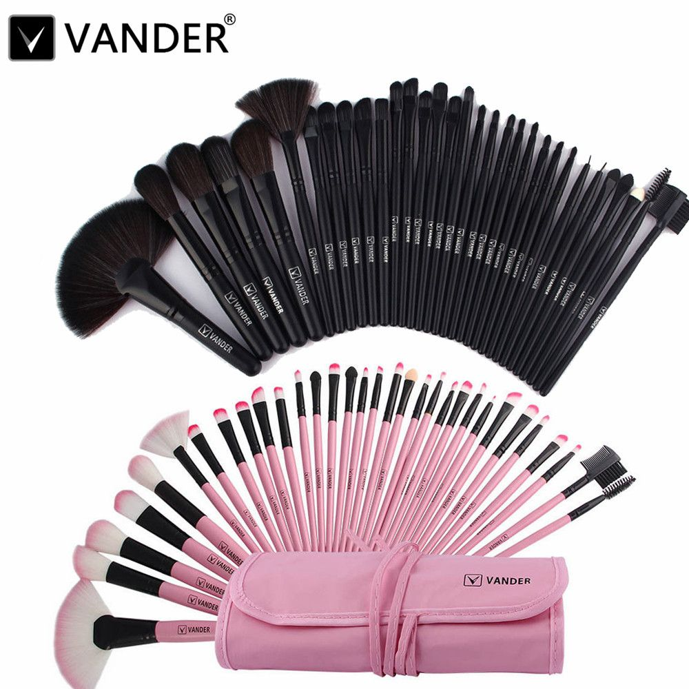 Professional Bag Of Makeup Beauty Pink / Black Cosmetics 32/24pcs Make Up Brushes Set Case Shadows Foundation Powder Brush Kits