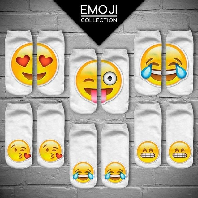 % 3D QQ Emoji Sock Women Fashion Single Side Printing Men Cotton Socks Unisex Socks Pattern Meias Feminina Funny Low Ankle Socks