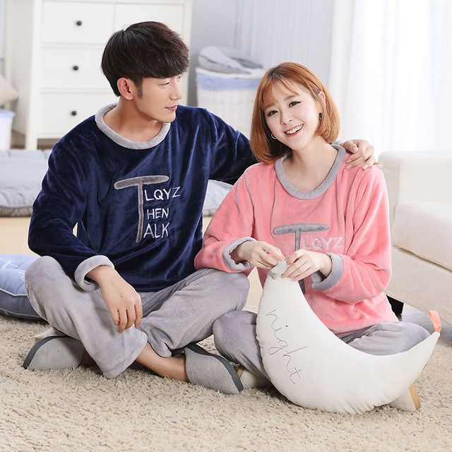 Fashion New winter women and men flannel pajamas set long sleeve long trousers coral fleece warm pyjamas couple home clothing