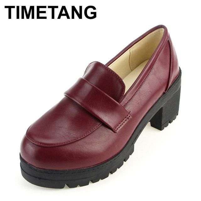 TIMETANG NEW Thick with round head Students shoes Japanese school uniforms Japanese institute style COS joker universal