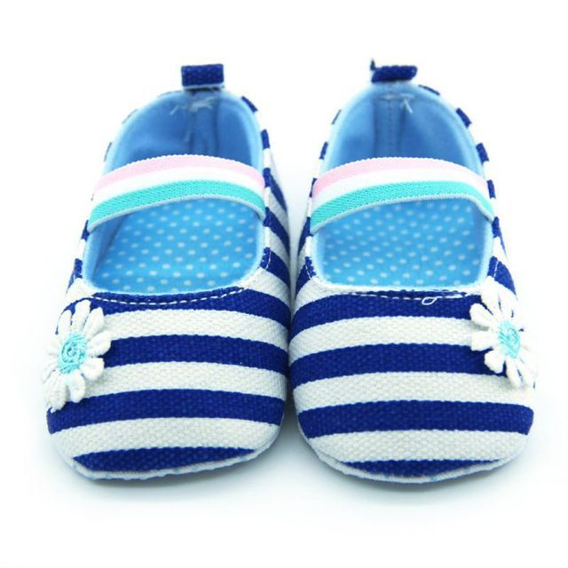 Baby Girl Canvas Striped Soft Sole Shoes Crib Shoes Infant Prewalkers 0-18 Month