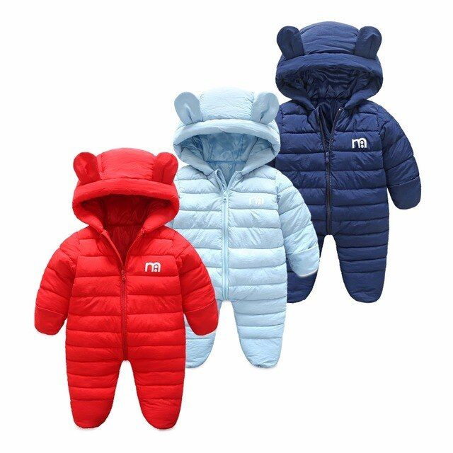 NAET cher Russian winter baby jumpsuit solid warm boys snowsuit for children hooded winter overalls for girls unisex baby romper