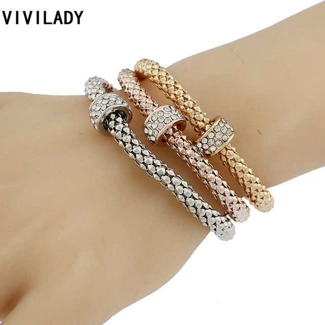 VIVILADY African Casual 3pcs AAA Crystal Rhinestone Circle Pendants Elastic Charm Cuff Bracelets Femme Lady Party Gifts Pulseras