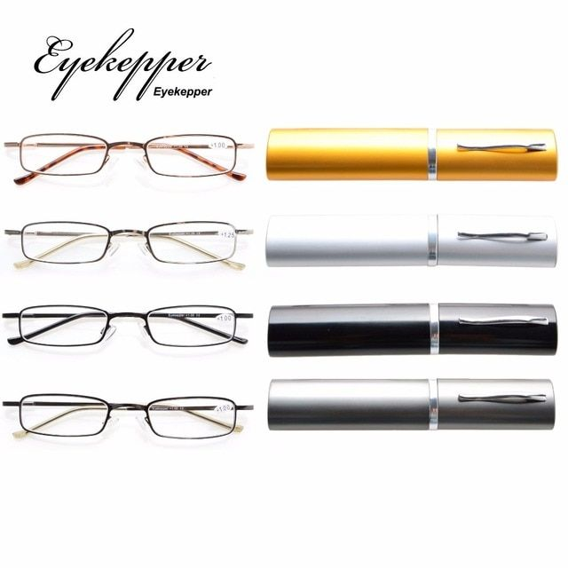 R15020 Eyekepper 4-Pack Compact Spring Temple Reading Glasses with Portable Pocket Clip Aluminum Case  +0.50---+4.00